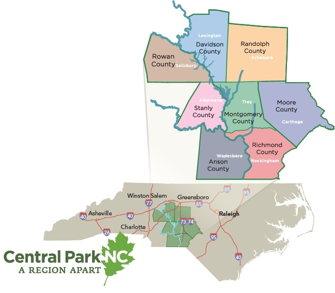 Map of central park region in North Carolina