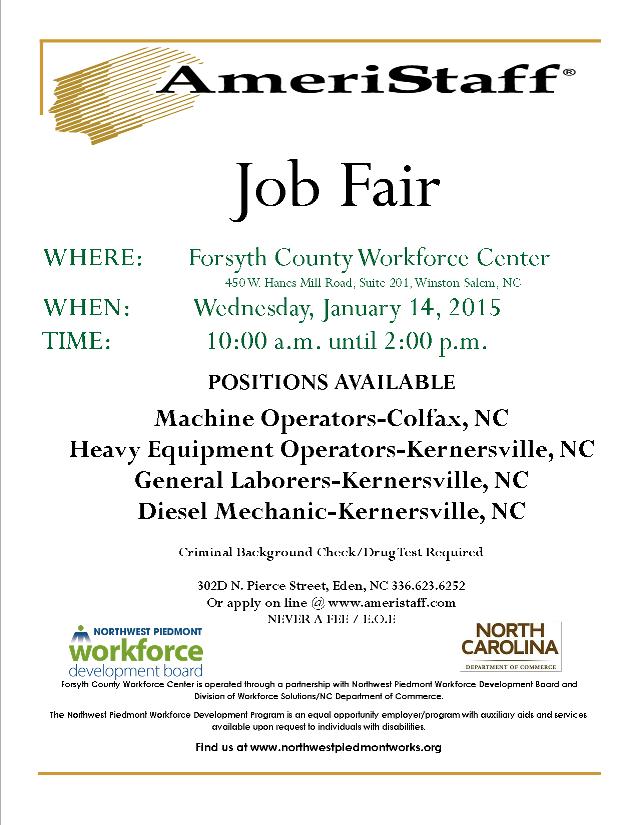 AmeriStaff Job Fair | Event List View | Piedmont Triad Regional