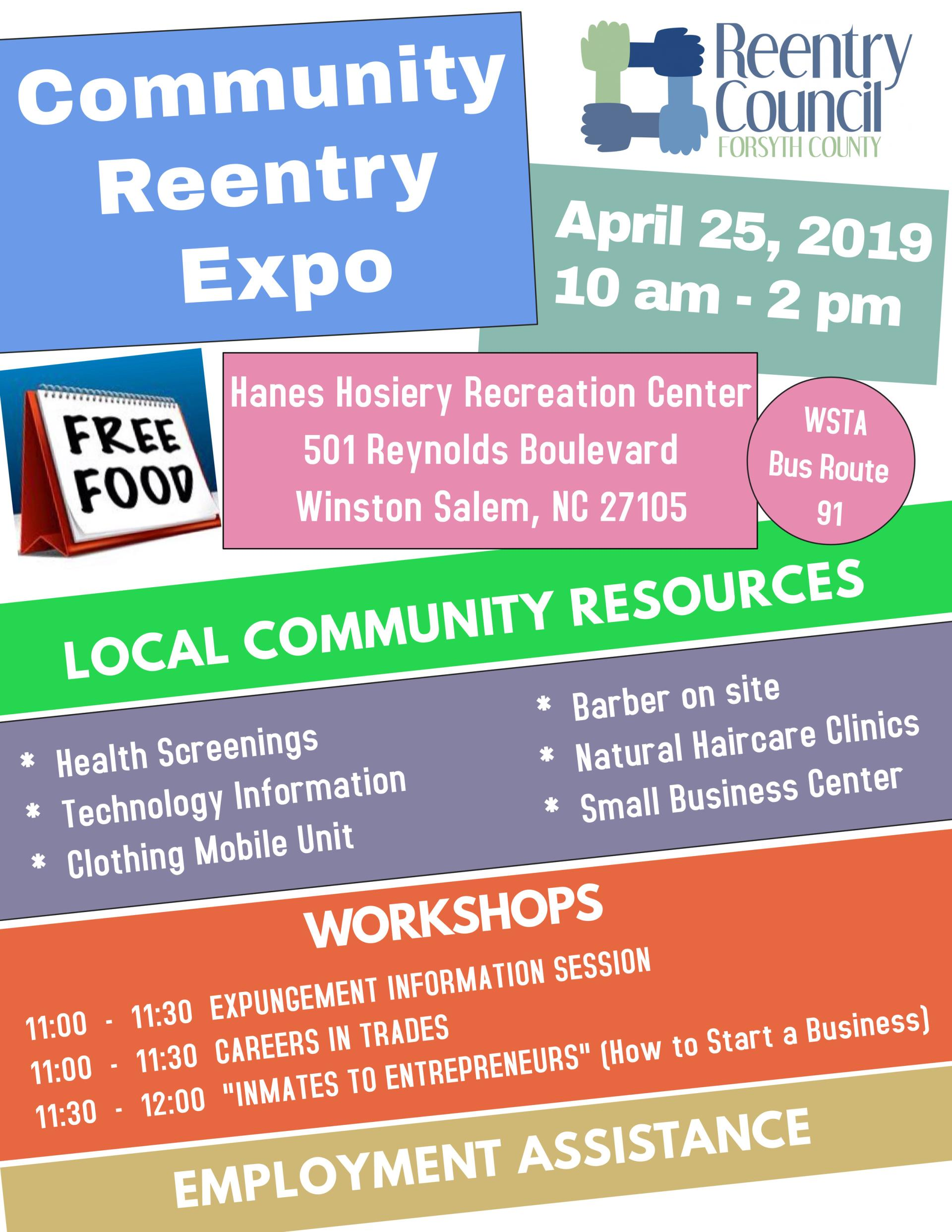 Community Reentry Expo flyer april 25, 2019