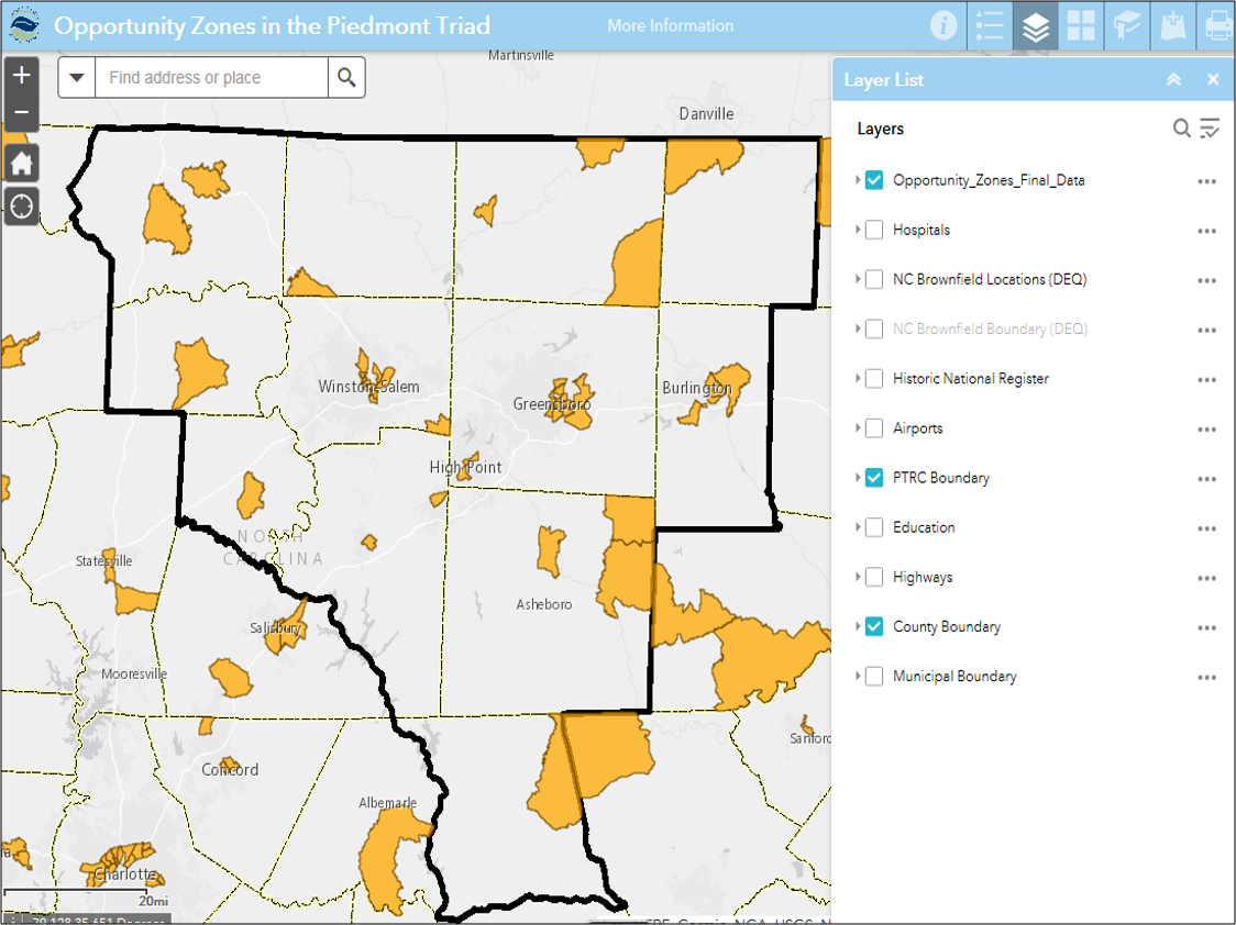 screen shot opportunity zones web map